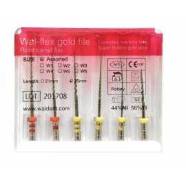 Waldent Wal-Flex Gold Rotary Files (Pack Of 6)