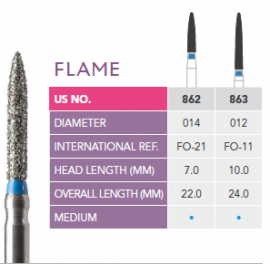 Prima Dental Flame Bur (Pack Of 5 Burs)